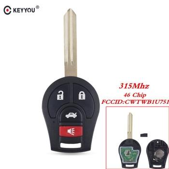 Chiave Telecomando per Nissan Key Qashqai Sunny Sylphy Tiida X-Trail Rogue 2008-2016 315MHz CWTWB1U751 ID46 4 Tasti