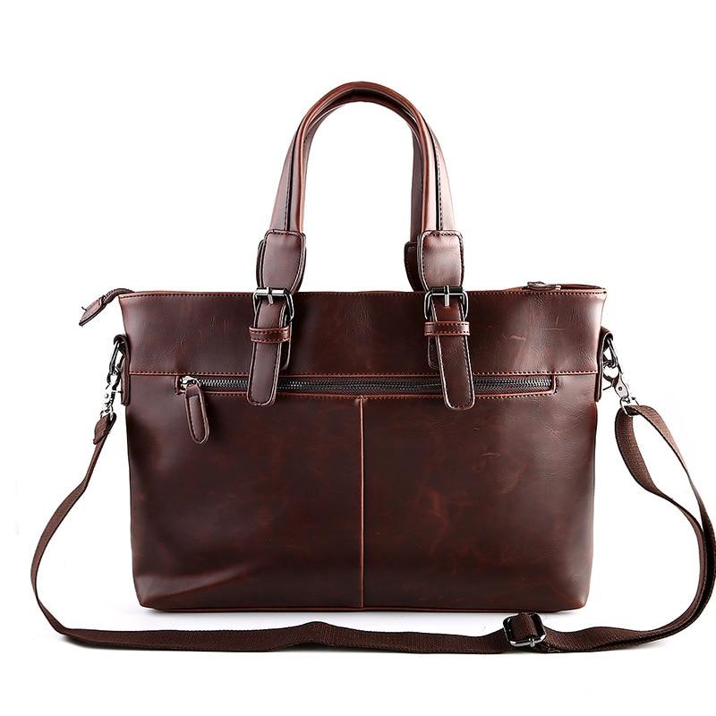 цена 2017 Italian Pu Leather Bags Male Laptop Briefcase Handbag Men's Shoulder Crossbody Bags Vintage Office Work Bag aktentasche sac онлайн в 2017 году