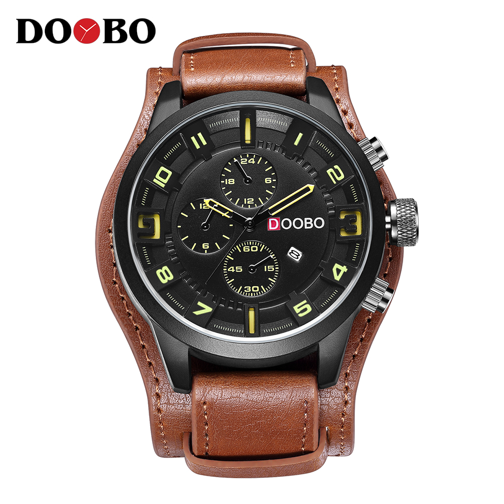 DOOBO Army Military Sports Quartz Mens Watches Top Brand Luxury Leather Men Watch Casual Sport Clock Watch Relogio Masculino luxury brand men s quartz date week display casual watch men army military sports watches male leather clock relogio masculino