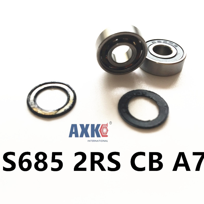 Free Shipping 1 Piece S685 2RS CB A7 5x11x5 mm hybrid SI3N4 Ceramic ball Stainless steel  bearing ceramic 4 piece stacking