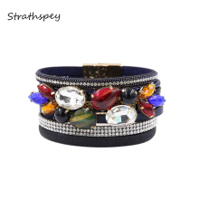 STRATHSPEY Vintage Crystal Leather Bracelet For Women Rhinestone Multicolor Statement Bracelets Bohemia Wide Bangle Jewelry