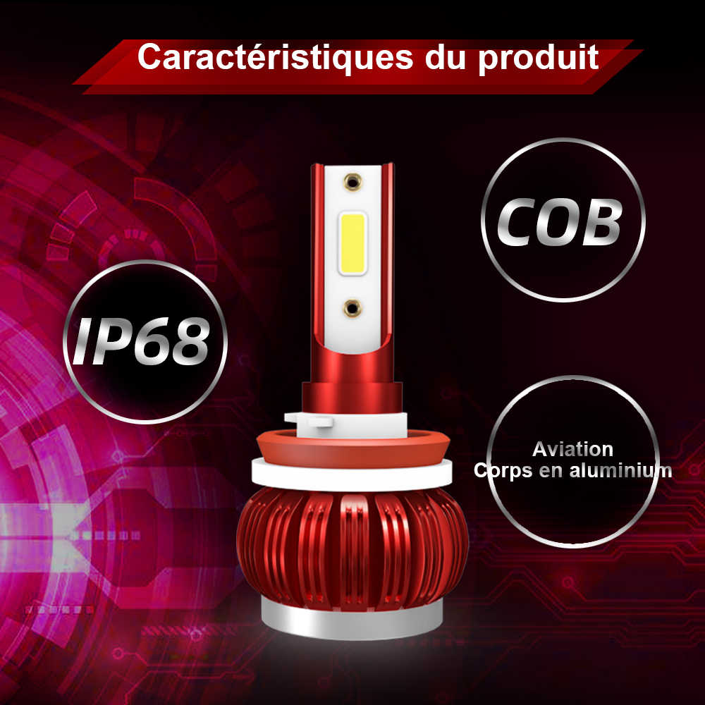 8000LM 35W LED H4 H7 Car Light Bulbs H1 9005 9006 H11 Car Headlight Bulb 6000k Cars COB Chip Light Ampoules de phare de voiture