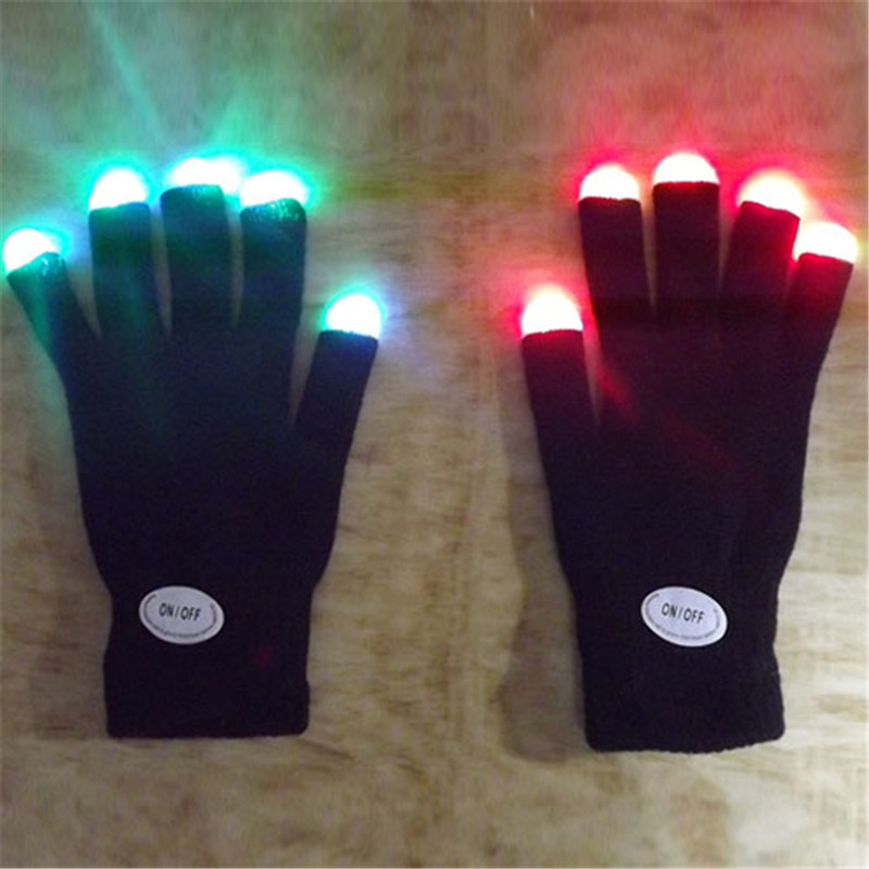 Fingertip LED Gloves Rainbow Flash Women Light Glow Stick Gloves Mittens BC67 T55