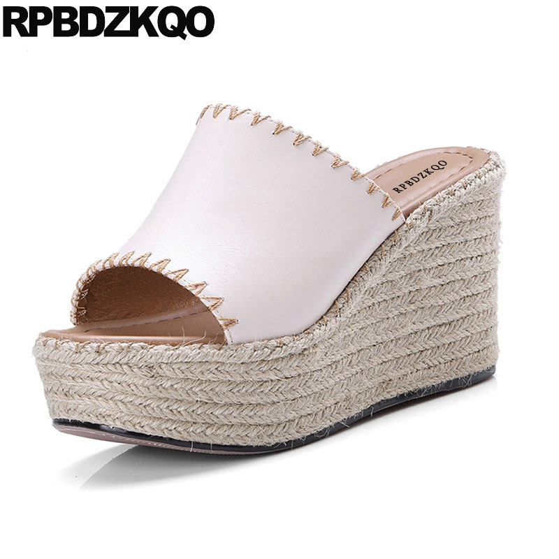 Espadrilles Designer Genuine Leather Luxury Rope Women Wedge Platform Sandals Summer Shoes Slides High Heels Fashion Nude Pumps 2016 summer women flat platform slippers fashion hemp rope insole ladies genuine leather buckle sandals designer espadrilles