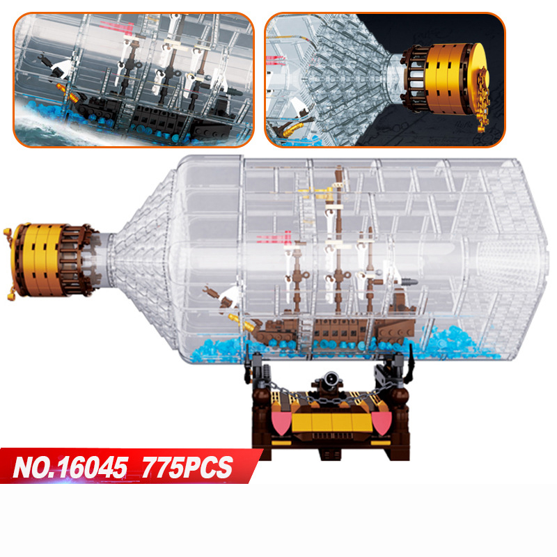 Hot movie scenes Mysterious pirate ship in a bottle moc building block model bricks toys collection for Adult kids gifts lepin 22001 pirate ship imperial warships model building block briks toys gift 1717pcs compatible legoed 10210