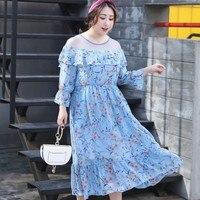 Zmvkgsoa Boho Floral Print A Line Dress Newest 2018 Fashion Mesh Patchwork Plus Size Women Vintage