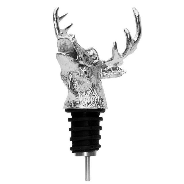 Zinc Alloy Deer Stag Head Wine Pourer Unique Wine Bottle Stoppers Wine Aerators Bar Tools