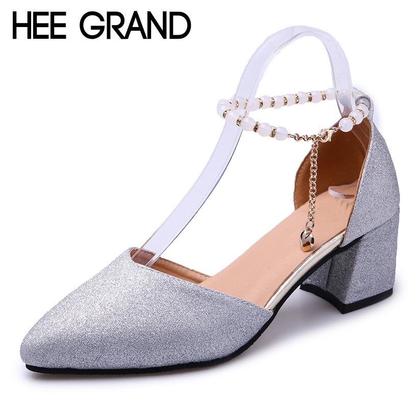 HEE GRAND 2018 New Gold High Heels Summer Gladiator Sandals Wedding Shoes Woman Pointed Toe Pumps Sliver Women Shoes XWD6404 hee grand cross tied women sandals summer sexy square high heels flock wedding shoes woman elegant pumps ladies 3 colors xwz2049