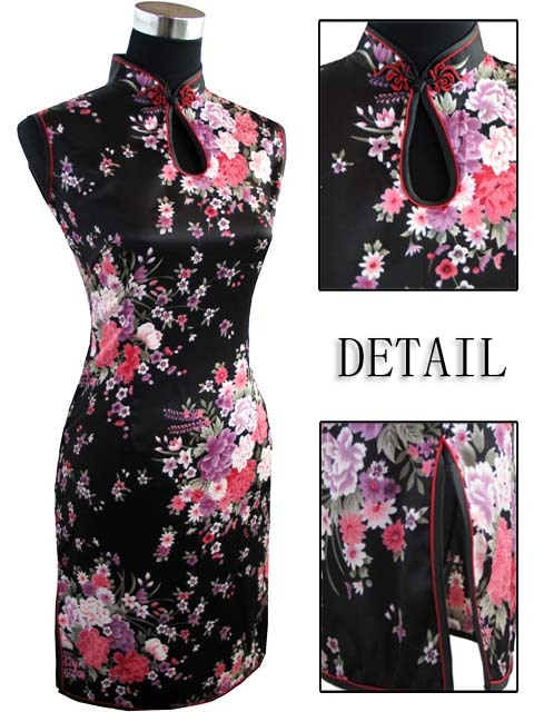 New Black Chinese Women's Silk Rayou Mini Halter Cheongsam Qipao Evening Dress Flower Size S M L XL XXL Free Shipping J5024