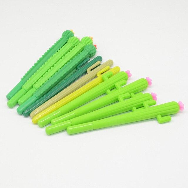 Lápices de Gel con forma de Cactus para hombre y mujer, bolígrafos de Gel con plumas, estilo escolar, Lapiceros Creativos, 60 uds.