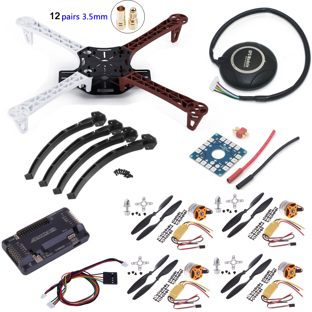 DIY F450 Quadcopter Rack Kit Frame APM Flight controller 7M GPS A2212 1000KV Motor 30A ESC 1045 Propeller 3.5mm bullet plug 6axle foldable rack rc helicopter kit apm2 8 flight control board gps 1000kv motor 10x4 7 propeller 30a esc at10 tx f02015 j