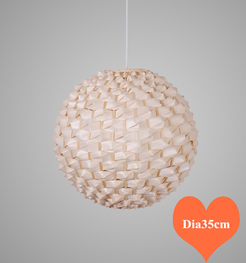 Chinese Handwoven Wicker Bamboo Pendant Lights Southeast Asia Brief Round Dia35cm E27 LED Lamp For Porch