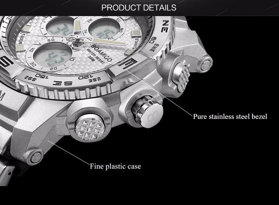 BOAMIGO Fashion Sport Man Watches Stainless Steel LED Digital Watch Analog Quartz Movement Waterproof Dual Display Wristwatches (6)