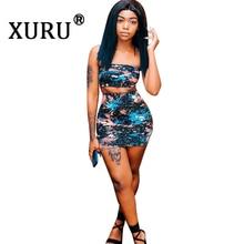 XURU Summer New Hot Women's Print Dress Two-piece Off-the-shoulder Colorful Nightclub Dress Club Party Sexy Dress striped off the shoulder tulle two piece dress