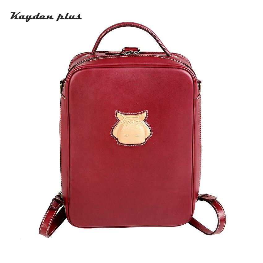 Weibliche Marke Leder Echtem rot Rucksäcke Für Kayden Taschen Plus Rot Orange Mädchen Mode Damen Rucksack Frauen 5wx0YWvqUf