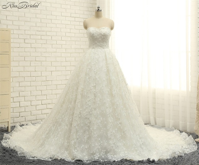 Stunning Elegant A line Wedding Dresess Lace Up Back Sweetheart ...