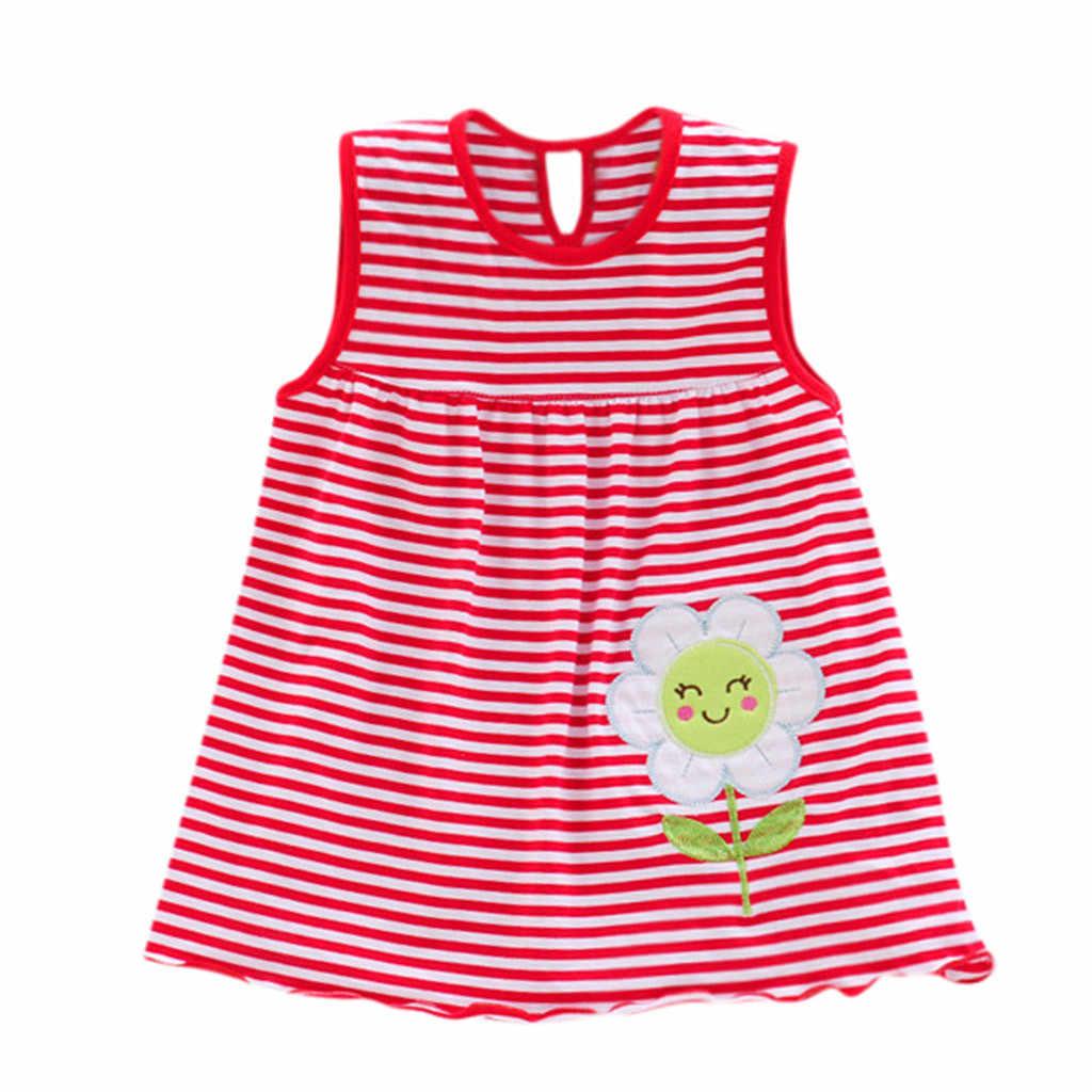בנות שמלת Vestidos פרח קיץ מסיבת פסים נסיכת ילדי אפוד שמלות חוף חתונה בנות תינוק בגדים פעוט 18Jan16