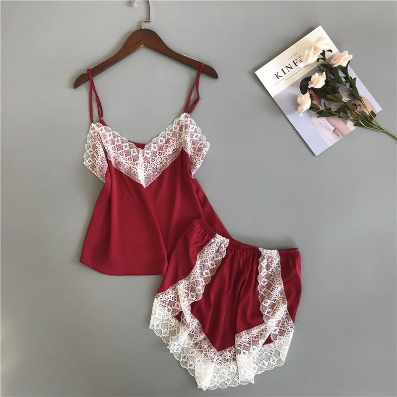 New Strap Top&Shorts Home Wear Summer Women Satin 2PCS Nightwear Sexy Short   Pajamas     Set   Lace Trim Sleepwear Pyjamas Negligee
