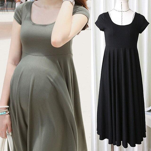 21e059048e182 Maternity Dresses Clothes For Pregnant Women Clothing O-neck Short Sleeve 4  Colors Slim Pregnancy