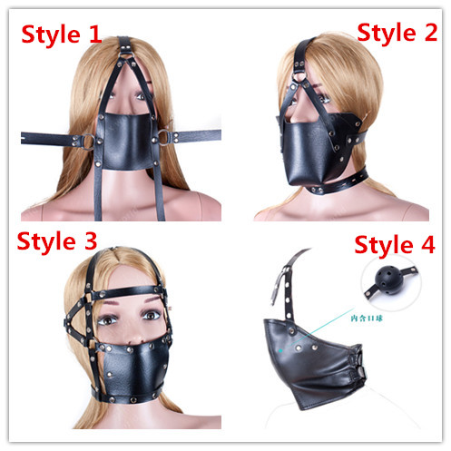 Mouth Gag Black PU Leather Harness Anti-spit Mask Full Head Harness Mouth Mask Gag Muzzle Bondage Restraint Sex Toys 4 Styles стоимость