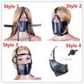 Mouth Gag Black PU Leather Harness Anti-spit Mask Full Head Harness Mouth Mask Gag Muzzle Bondage Restraint Sex Toys 4 Styles