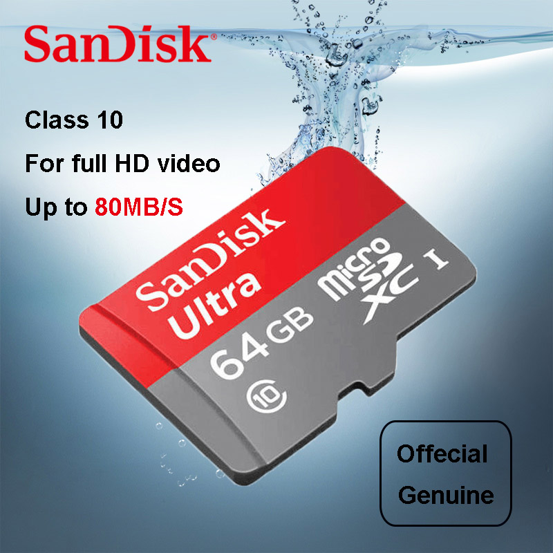 SanDisk Ultra Micro SD Card 64GB 32GB 16GB 128GB 8GB MicroSDHC SDXC UHS I Memory 80MB S TF For Smartphone Gallery Image