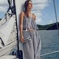 Verão Sexy Mulheres Stripe Soltas de Algodão De Linho Vestido Hippie Do Vintage Dois Outfits Peça