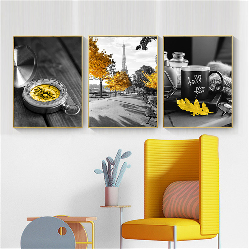 Black and White Photograph Landscape Picture Home Decor Nordic Canvas Painting Wall Art Yellow Scenery Art Black and White Photograph Landscape Picture Home Decor Nordic Canvas Painting Wall Art Yellow Scenery Art Print for Living Room