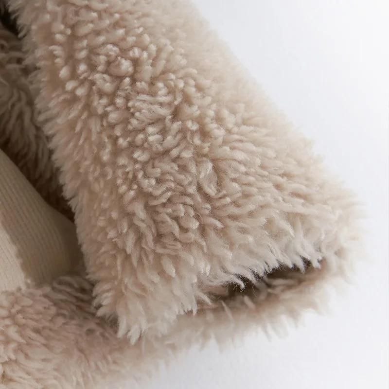 Beige Naturel Laine 2019 De V Pour Veste Femmes Fourrure Vêtements Mouton cou Manteau Réel Nouveauté Hiver Peau Agneau Véritable Automne Peluches wrHnwqRf