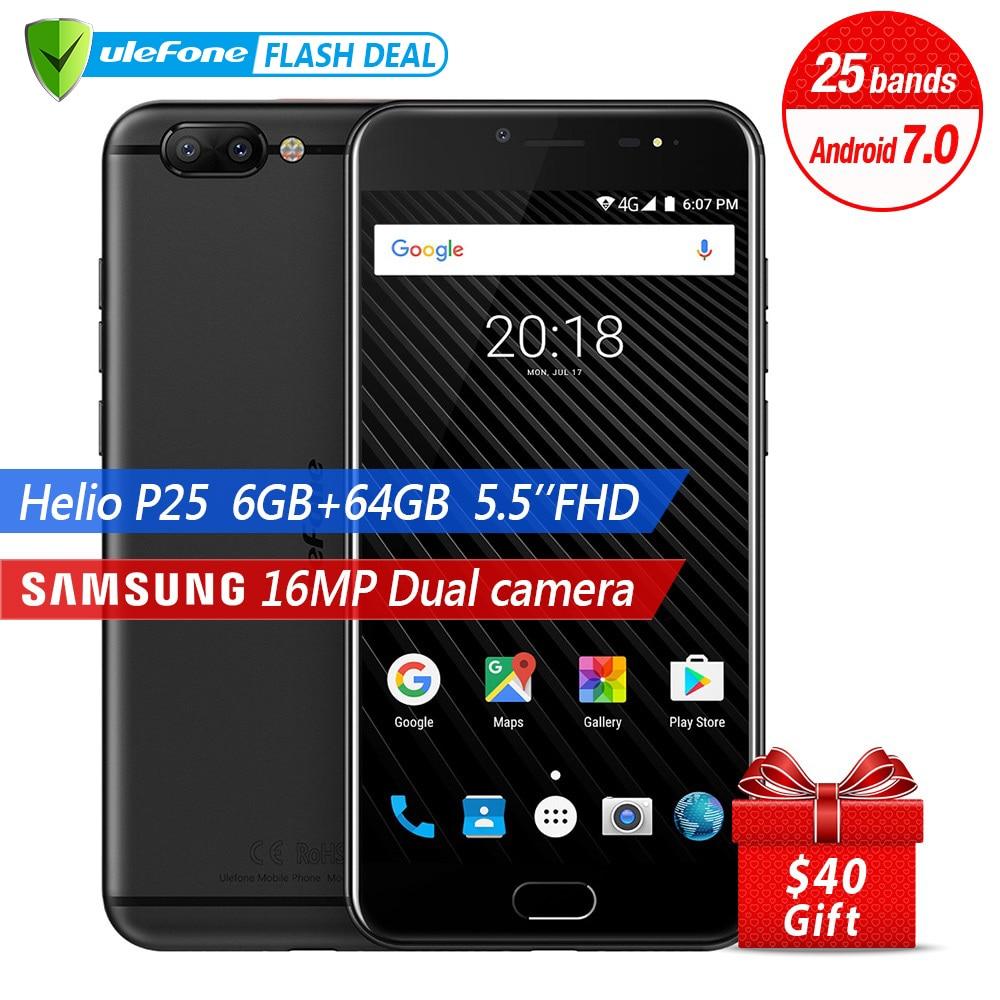 Ulefone T1 Двойная Камера 16MP+5MP Мобильный телефон 5.5 дюймов FHD helio P25 Octa core android 7.0 6 ГБ 64 ГБ Сканер отпечатков пальцев 4G телефон