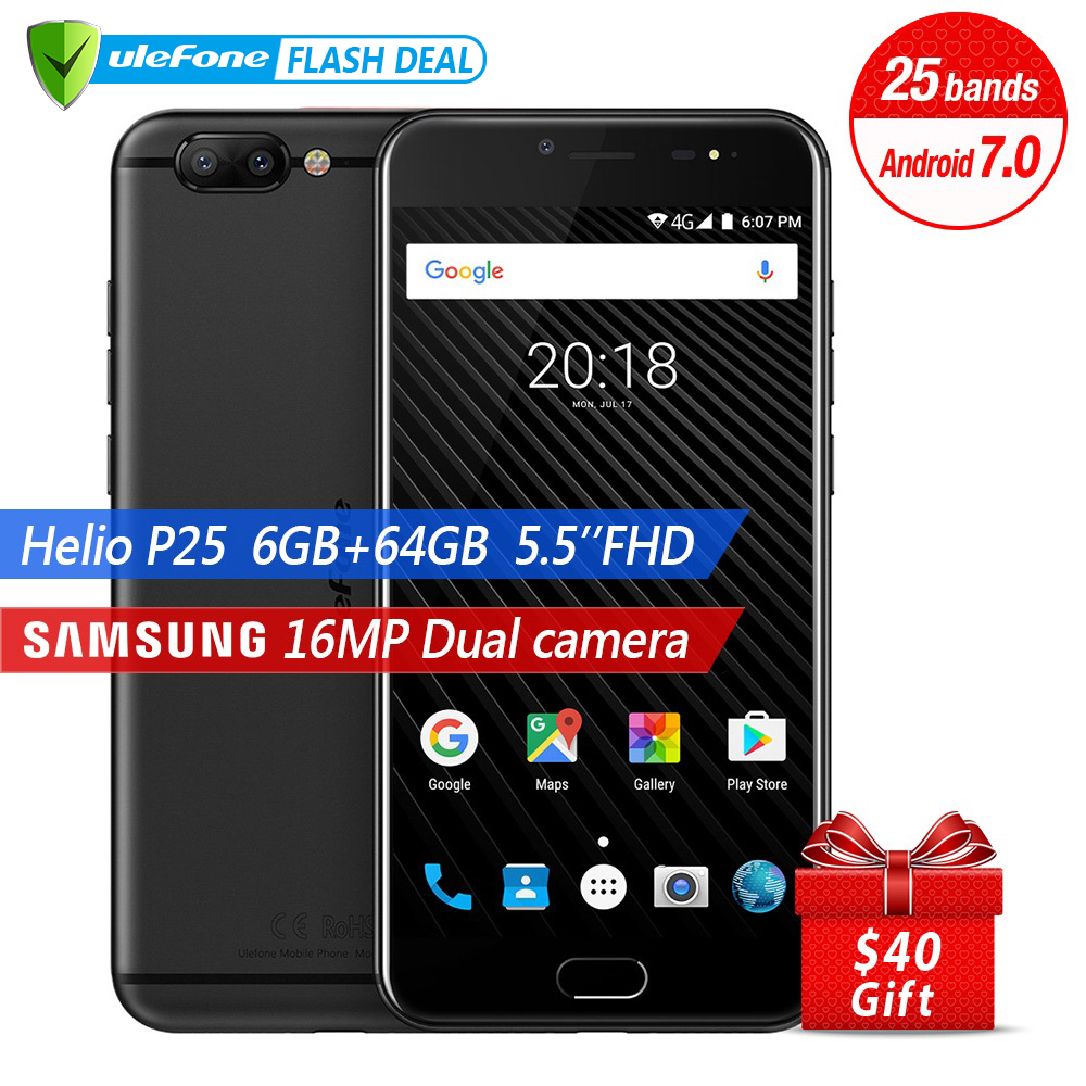 Ulefone T1 Dual Rear Camera  16MP Mobile Phone 5.5 Inch FHD Helio P25 Octa Core Android 7.0 6GB 64GB Fingerprint 4G Smartphone