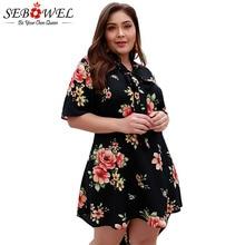 SEBOWEL Woman Plus Big Size Print Dresses Summer 2019 Female Ladies Elegant Floral Short Sleeve A-line Large Shirt Dress
