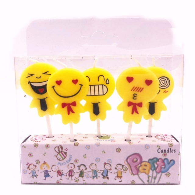 5 Pcs Cute Emoji Smile Cake Candles Birthday Party Celebrations Decoration Festive