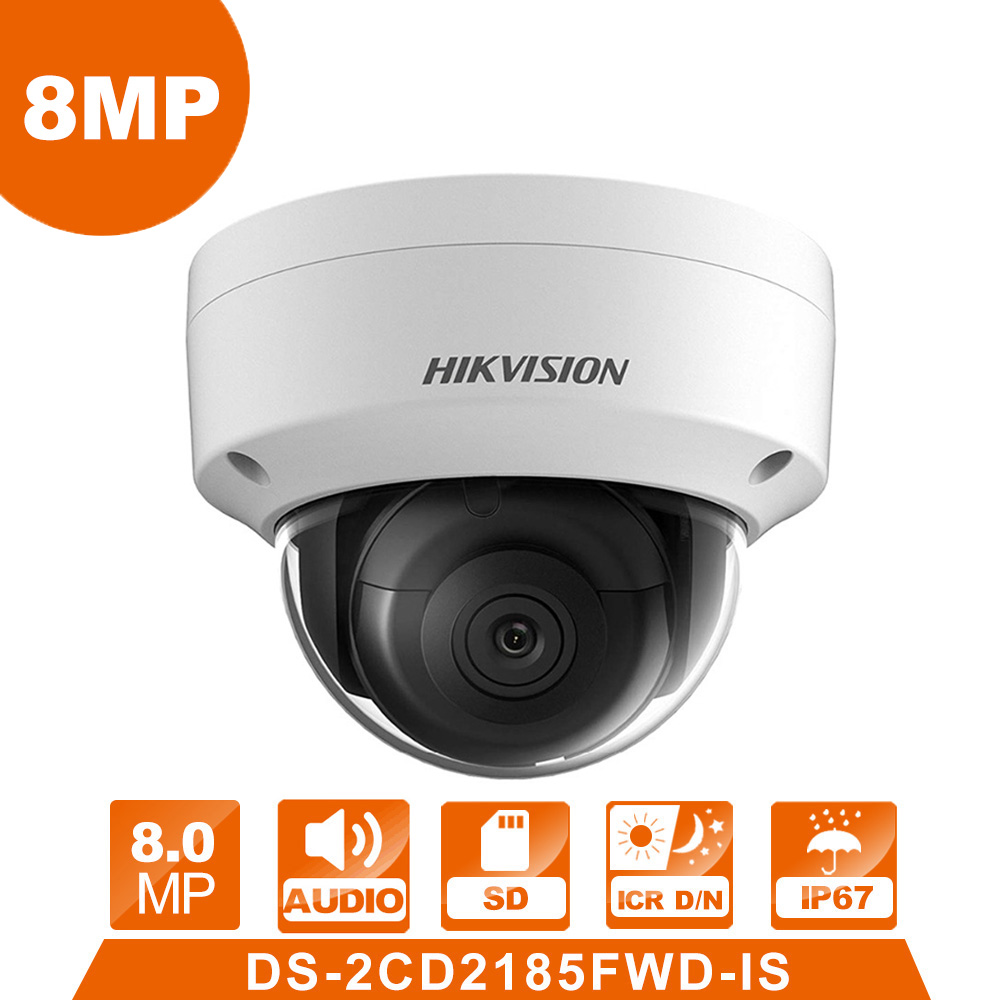 Hik DS-2CD2185FWD-IS IP Camera 8mpnetwork Dome Camera H 265 CCTV Dome Camera IP67 With Audio