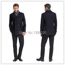 Новое Прибытие зима Британский Стиль Темно-Nany Синий Траншеи Пальто Мужчины Длинные Двойной Брестед 100% кашемир зимнее пальто мужчины