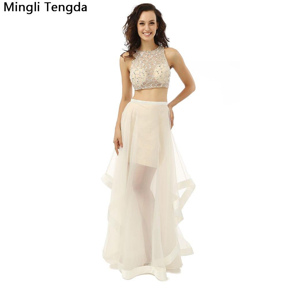 2017 New Two piece Long   Prom     Dresses   Hand-beaded High Neck Crop Top   Prom     Dress   Long Abendkleider Robe De Soiree Mingli Tengda