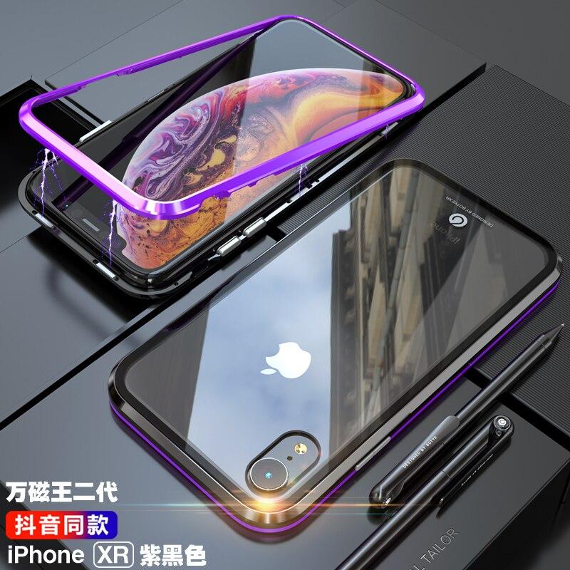 Магнитный металлический чехол бампер для Apple Iphone 7 8 Plus, чехол, прозрачная стеклянная задняя крышка для Iphone X, XR, XS MAX, чехол s, броня