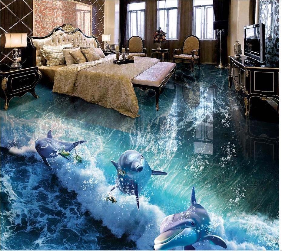 Custom photo floor wallpaper 3d dolphin bathroom 3d for 3d self adhesive wallpaper