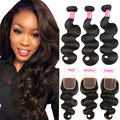 peruvian virgin hair body wave with closure SPARKLE DIVA hair human hair peruvian virgin hair body wave with closure