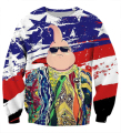 Men Women Vintage America Flag Print Crewneck Pullovers Hip Hop Biggie Smalls 3D Sweatshirt Outerwear Cool Anime Buu Sweatshirts