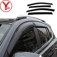 Boczne wiatr okno deflektory visor dla przednia szyba samochodu na akcesoria okienne dla toyota rav4 rav 4 2014 2015 2016 2017 YCSUNZ w Markizy i zadaszenia od Samochody i motocykle na