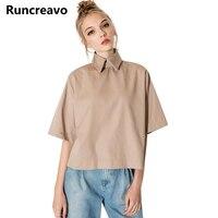 Runcreavo Retro Preppy Style Shirt Fashion Turn Down Collar Blouse Slim Women Shirt For Wholesale And