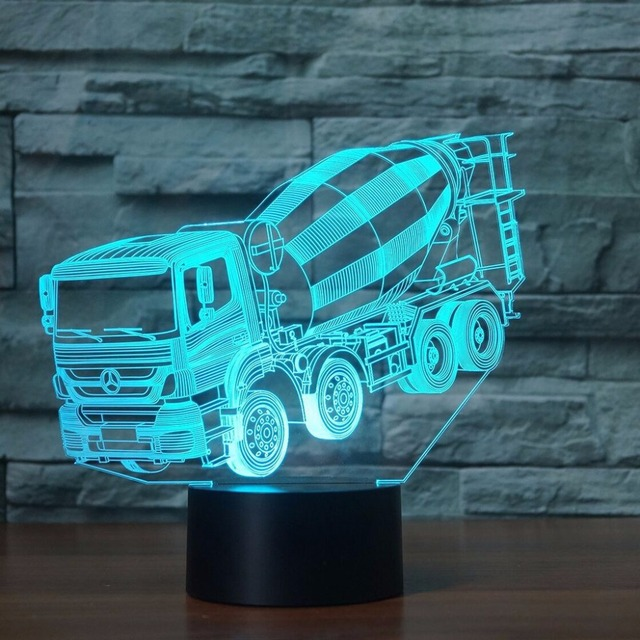 US $14 62 40% OFF|7 Colors Changing Mixer Truck Night Light 3D LED Blender  Car Table Desk Lamp Children'S Bedside Sleep Lighting Xmas Gifts Decor-in