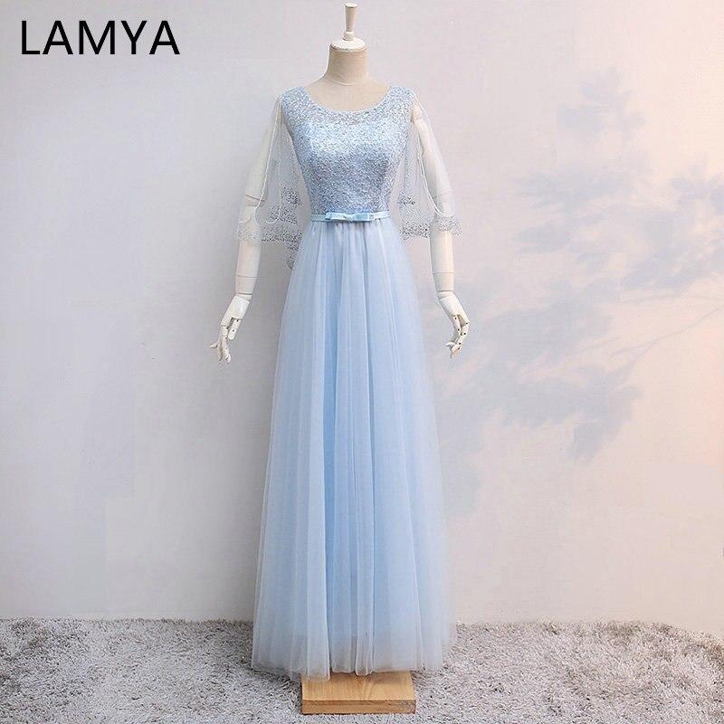 LAMYA Long   Evening     Dresses   Fashionable Sky Blue Tulle Formal   Dress   Bride Banquet Women Elegant Prom   Dress   Robe De Soiree 2019