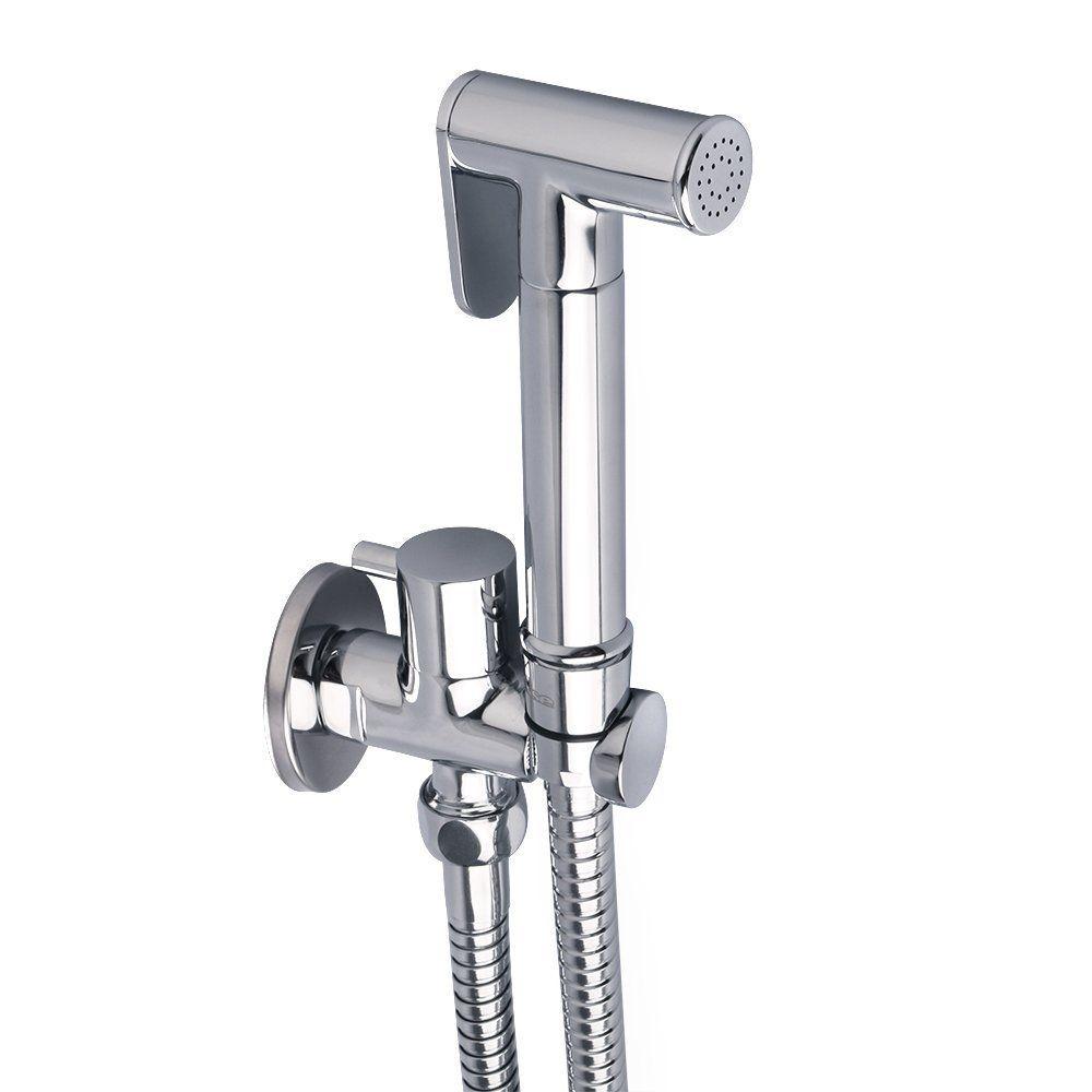 Pulvérisateur de Bidet tenu dans la main de toilette avec le tuyau de Valve d'arrêt et le support en laiton de support