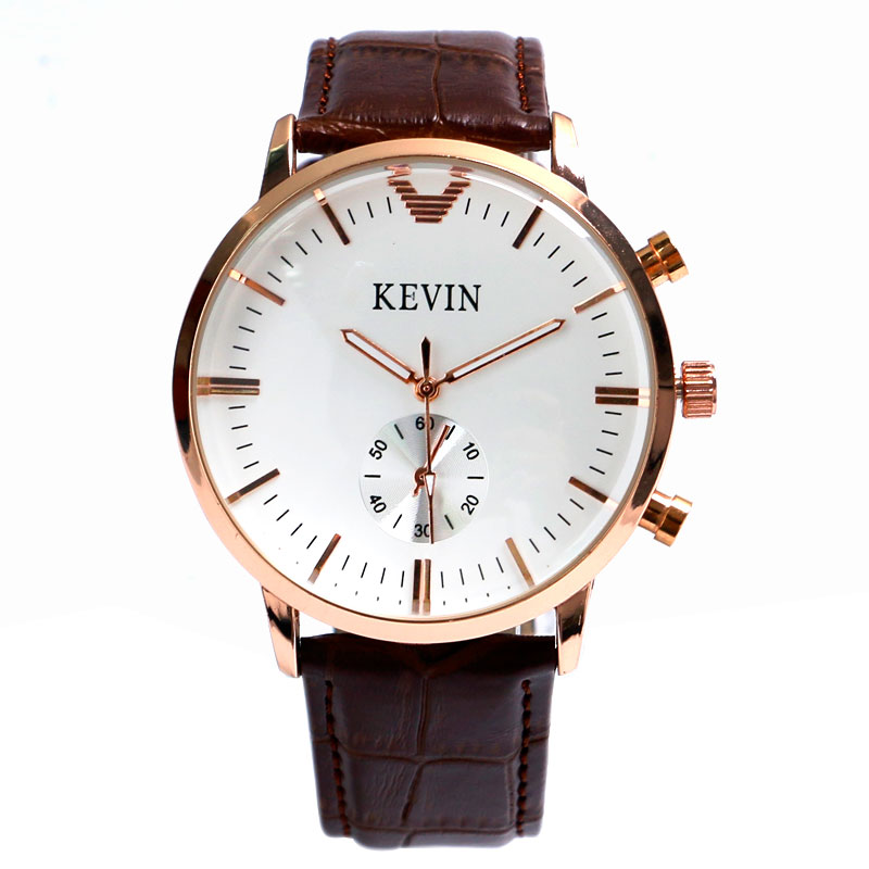 High Quality Casual Analog Small Seconds Round Dial Modern Womens Dress Brown Leather Band Quartz Wrist Watch relogio feminino classic brown genuine leather band men women day date display dial analog quartz wrist watch casual wristwatch relogio feminino