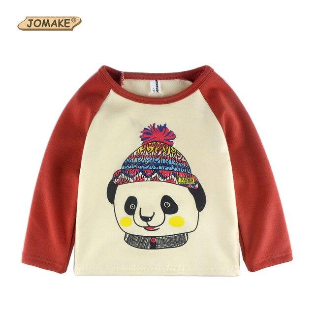 Baby T-shirt Winter Cute Christmas Cartoon Panda Boys T shirt Girls Tops Thick Fleece Casual Kids Clothes New Children Clothing