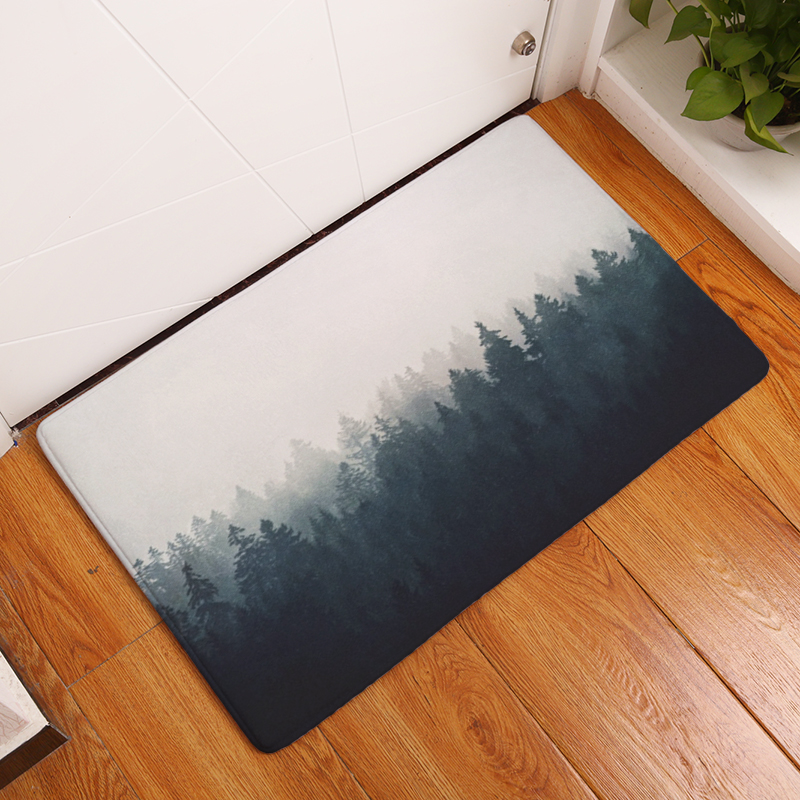 2017 Modern Style Forest Scenery Print Carpets Anti Slip