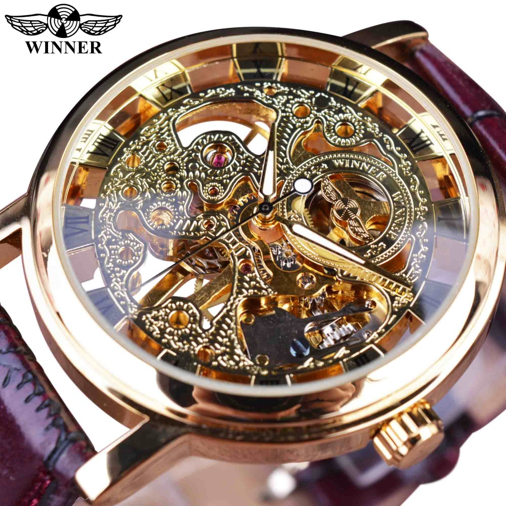Winner Royal Carving Skeleton Brown Leather Strap Transparent Thin Case Skeleton Design Watch Watches Men Luxury
