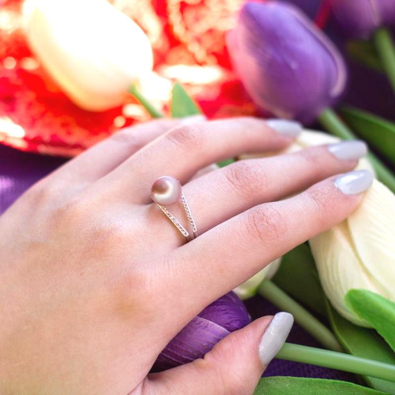100% pravi slatkovodni crni prirodni biserni prsten za žene, - Fine nakit - Foto 6